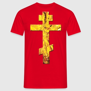 Russisches Kreuz Orthodox Gold / Russian Cross - Männer T-Shirt