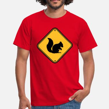 Squirrel warning sign shield caution zone caution - Men's T-Shirt