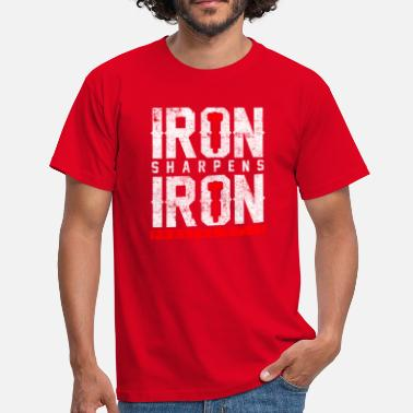 Ironic Quotes iron sharpens iron Bible Quote - Men's T-Shirt