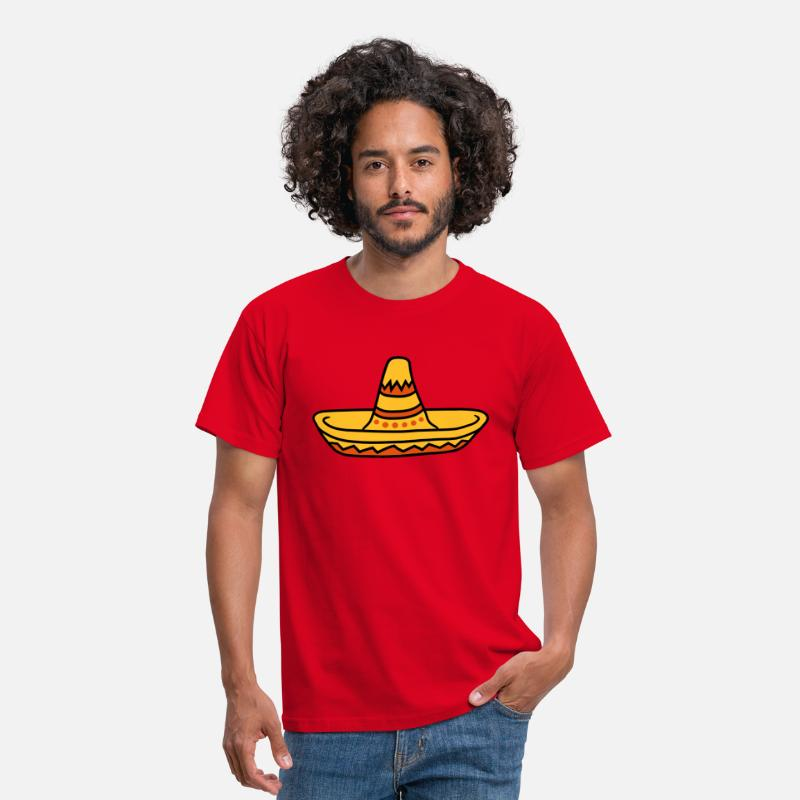 Mexico T-Shirts - Sombrero feestmuts viert Zuid-Amerika Mexico Mexico - Mannen T-shirt rood