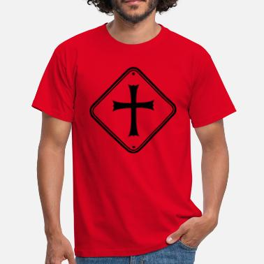 Logo signe de zone avertissement attention remarque attention église - T-shirt Homme