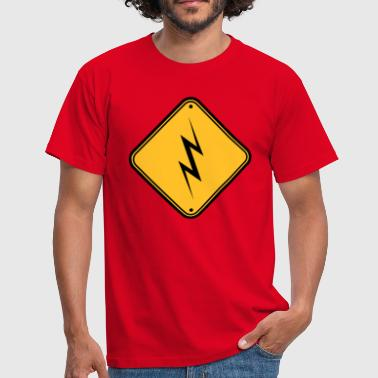 beware beware note danger sign lightning symbo - Men's T-Shirt
