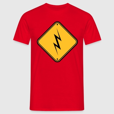 attention attention attention signe de danger éclair - T-shirt Homme