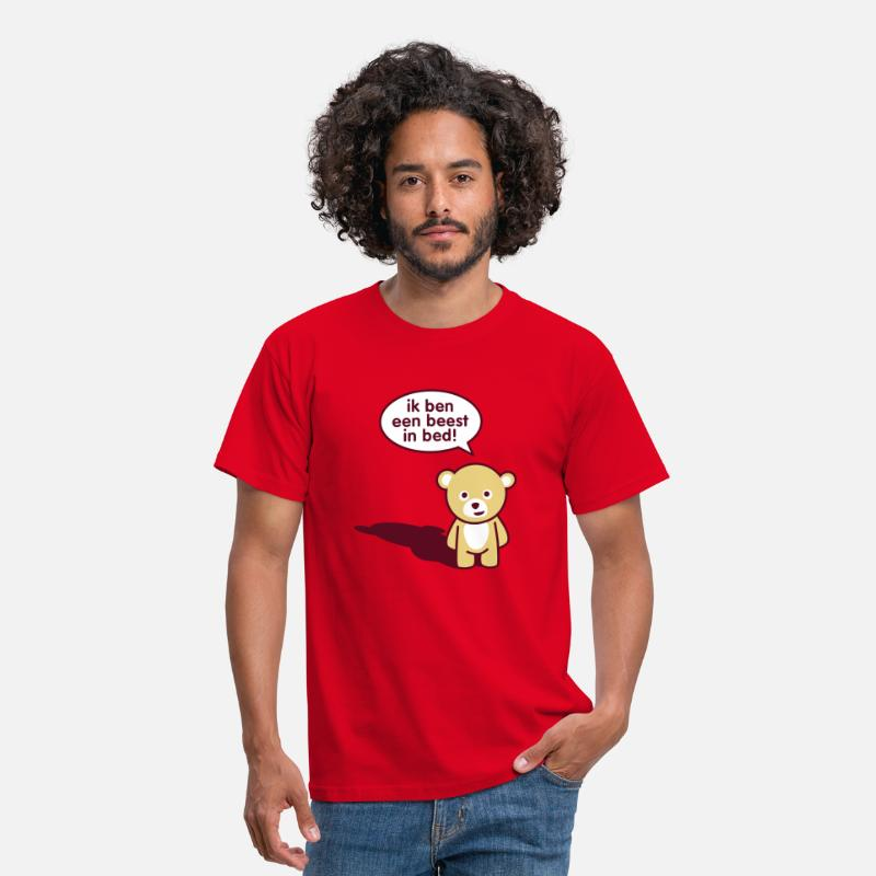 Grappig T-Shirts - Beest in bed - Mannen T-shirt rood