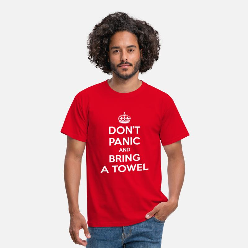 Keep Calm T-Shirts - Don't panic and bring a towel (Keep Calm) - Mannen T-shirt rood