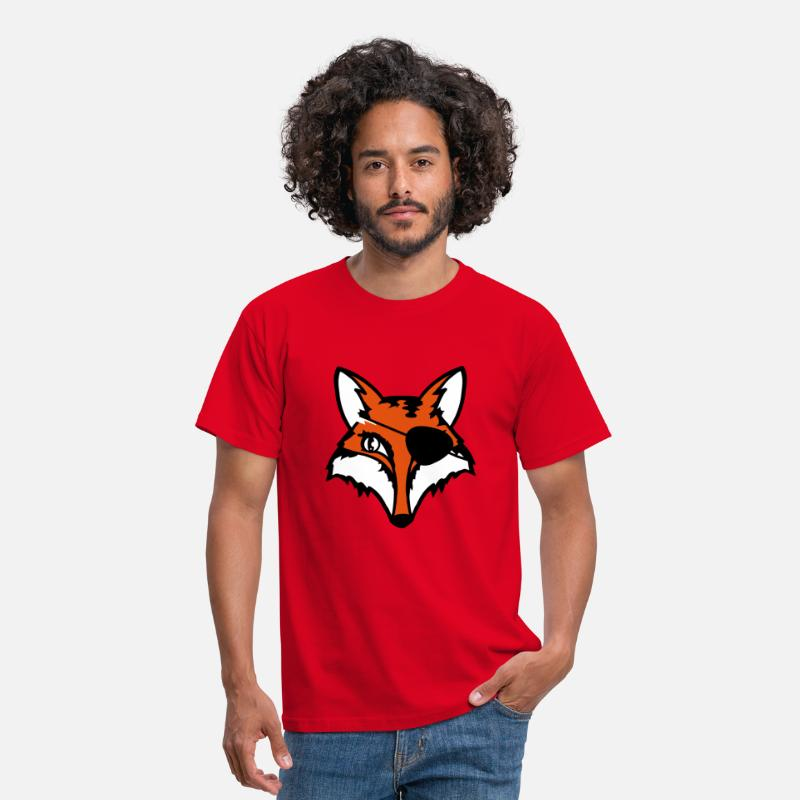 Boss T-Shirts - The fox with an eye patch - Men's T-Shirt red