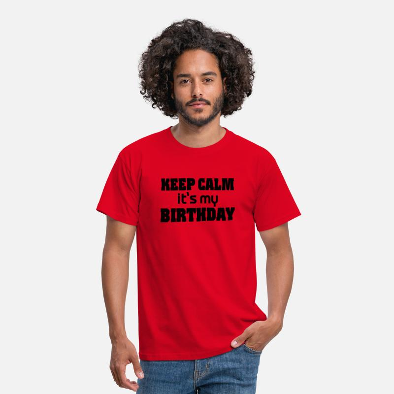 Birthday T-Shirts - Keep calm - it's my Birthday - Mannen T-shirt rood