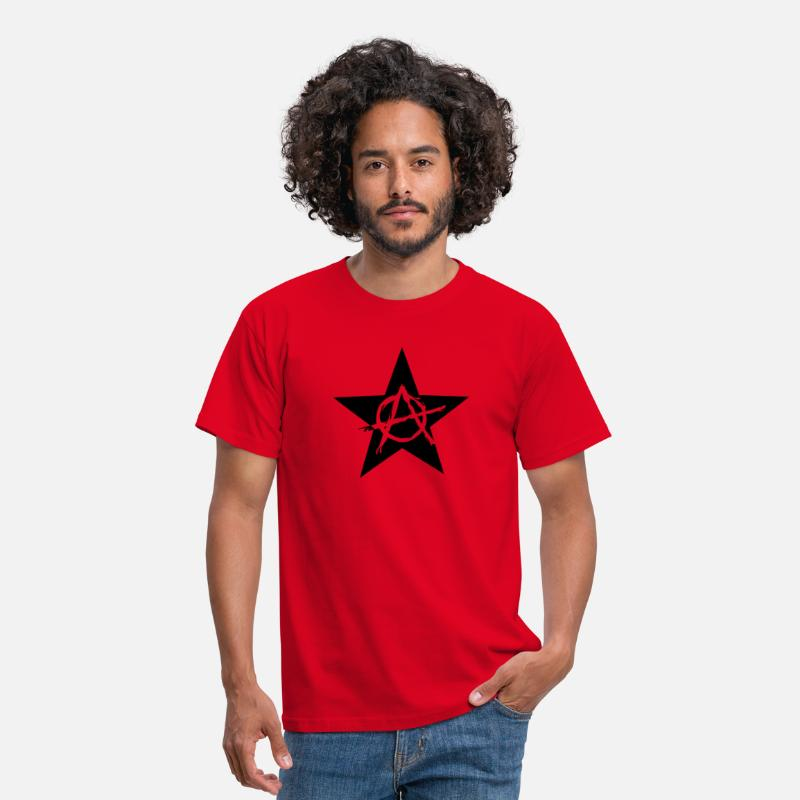 Anarchy T-Shirts - Star Anarchy chaos rebel revolution protest black  - Men's T-Shirt red