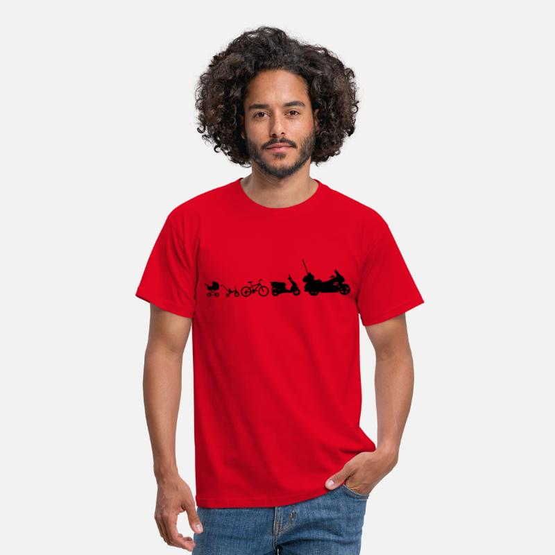 Driewieler T-Shirts - Evolutie Goldwing motorfiets  - Mannen T-shirt rood