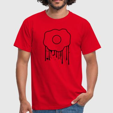 drop graffiti spray stamp oeuf au plat aliment lec - T-shirt Homme