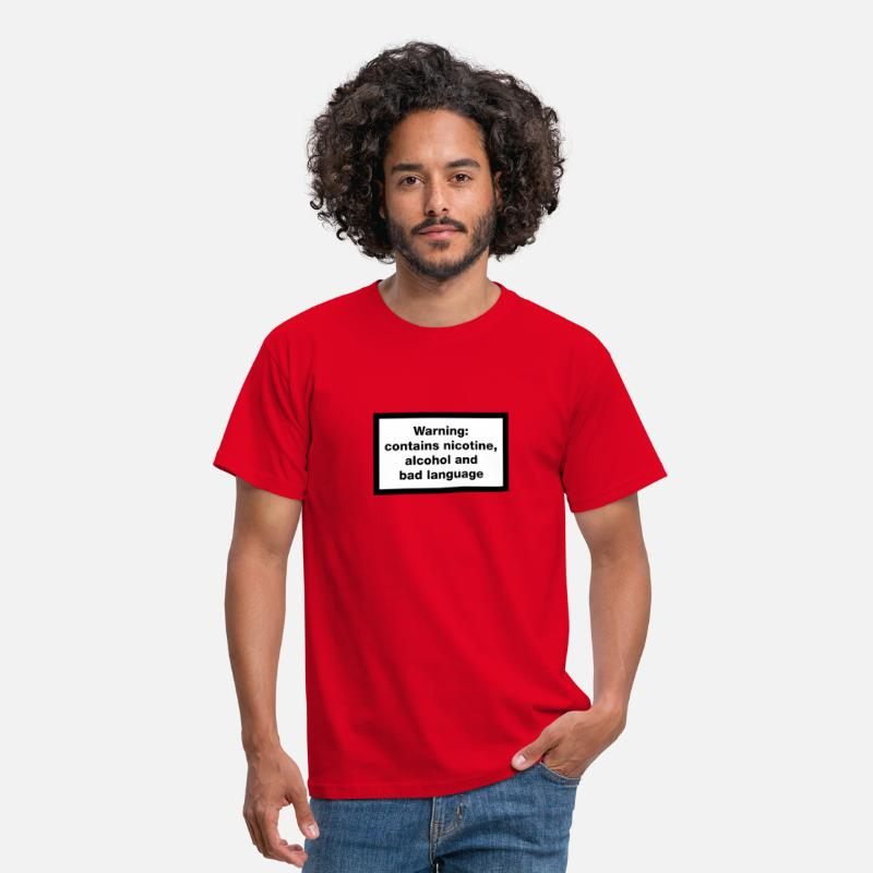 Marlboro T-Shirts - Warning: contains, nicotine, alcohol and bad language - Men's T-Shirt red
