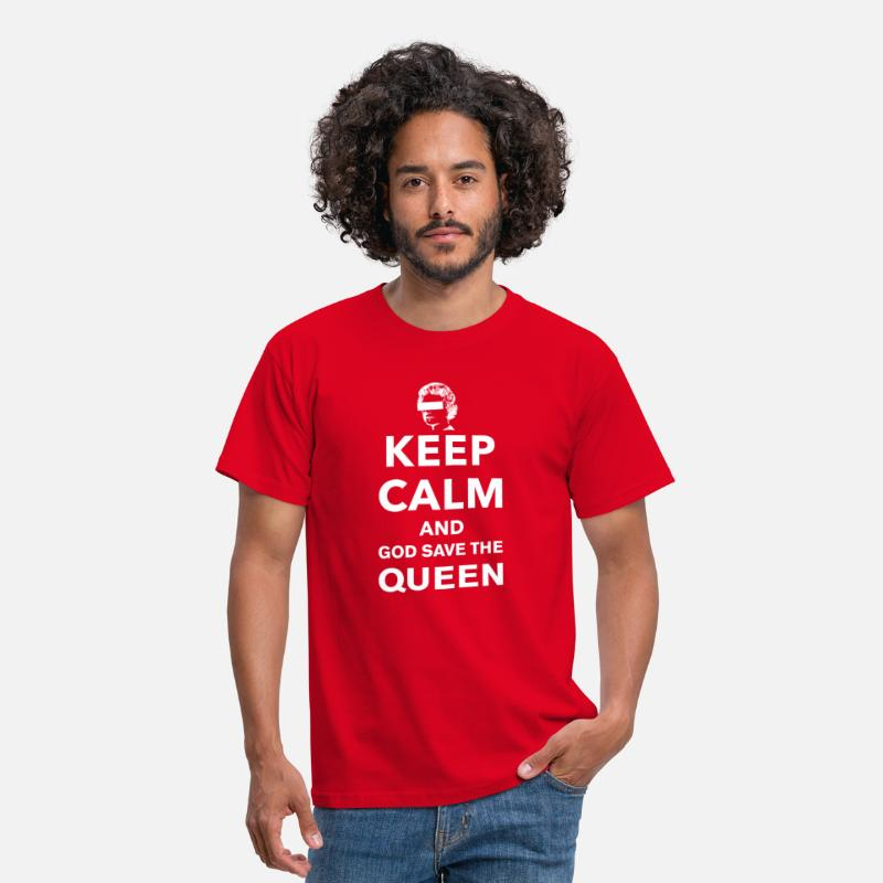Save T-Shirts - Keep Calm and God Save The Queen - Men's T-Shirt red