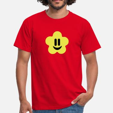 Jaune Smiley flower power smiley - T-shirt Homme