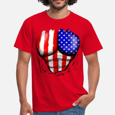 Stars And Stripes USA Flag Ripped Muscles, six pack, chest t-shirt - Men's T-Shirt