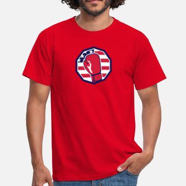 65e6fea39f32 Drapeau Boxe gant boxe americain drapeau logo sport - T-shirt Homme
