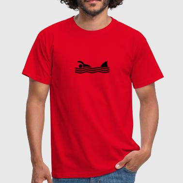 Amusing swimmer with shark - Men's T-Shirt