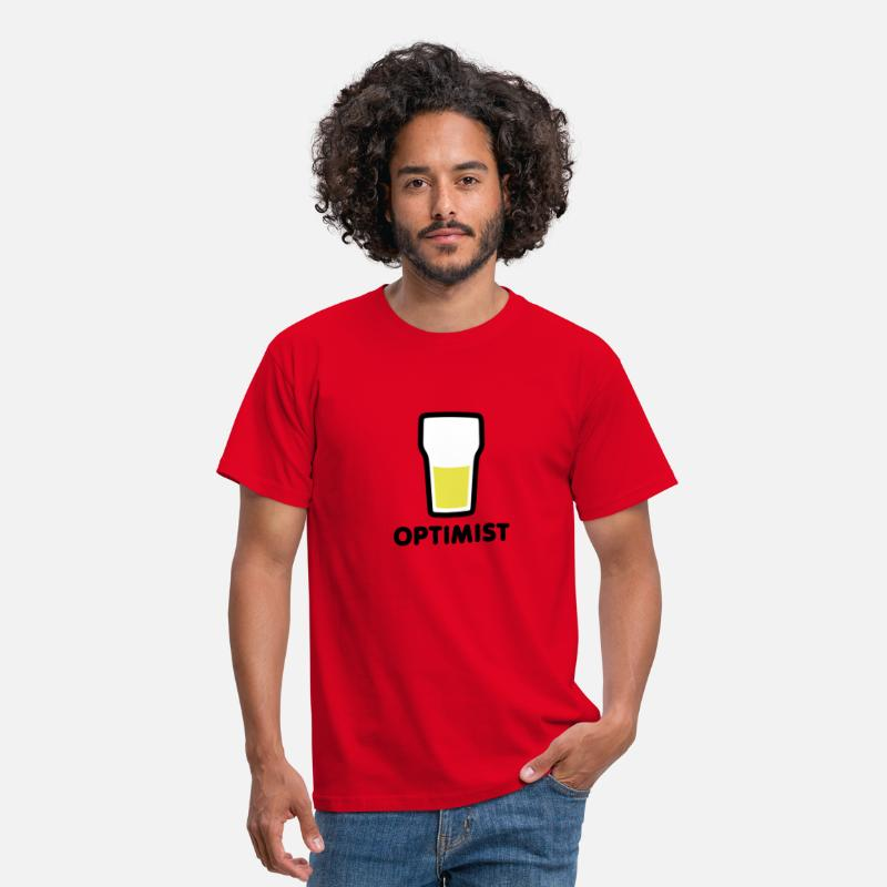 Alcohol T-Shirts - Het glas is half vol - Mannen T-shirt rood