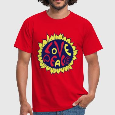 blume love and peace, hippie tattoo style - Männer T-Shirt