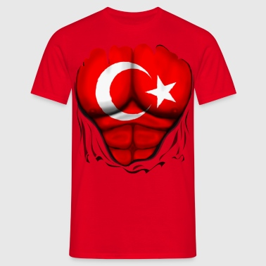 Turkey Flag Ripped Muscles, six pack, chest t-shirt - Men's T-Shirt