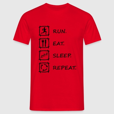 Logo RUN EAT SLEEP REPEAT in schwarz - Männer T-Shirt