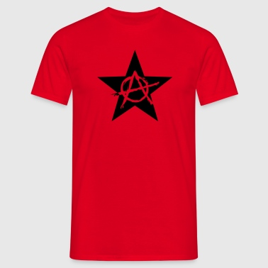 Star Anarchy chaos rebel revolution protest black  - Men's T-Shirt