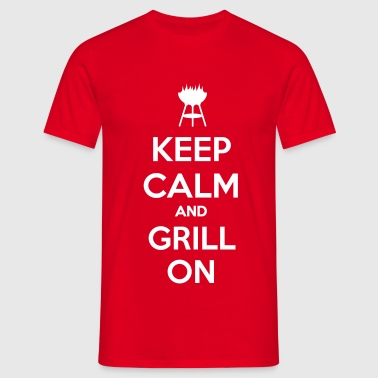 keep calm and grill on - T-skjorte for menn