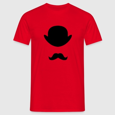 Bowler hat and moustache - Men's T-Shirt