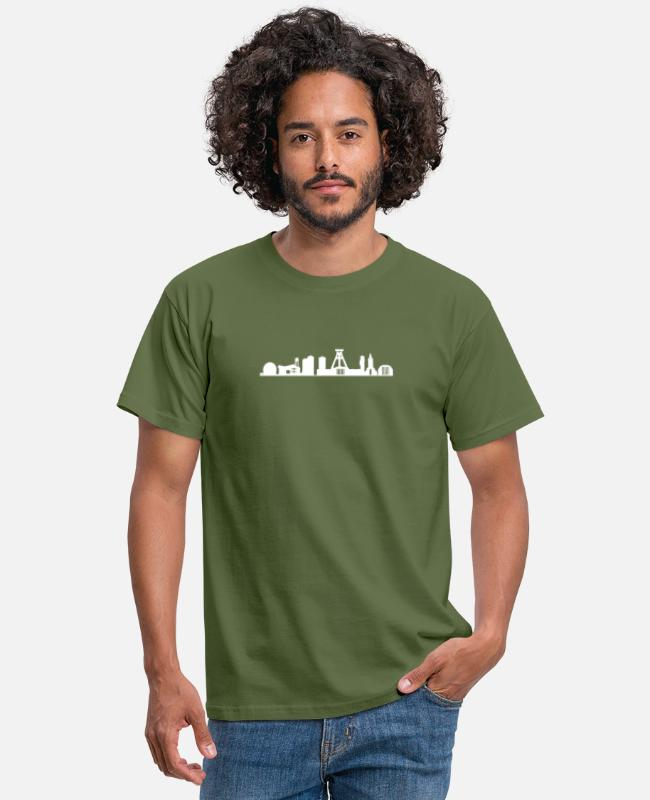 Bochum T-Shirts - Bochum skyline white - Men's T-Shirt military green