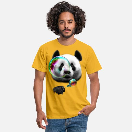 Panda T-Shirts - PANDA BUBBLEMAKER - Men's T-Shirt yellow