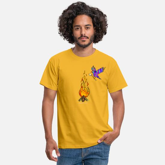 Central America T-Shirts - Bird with campfire - Men's T-Shirt yellow