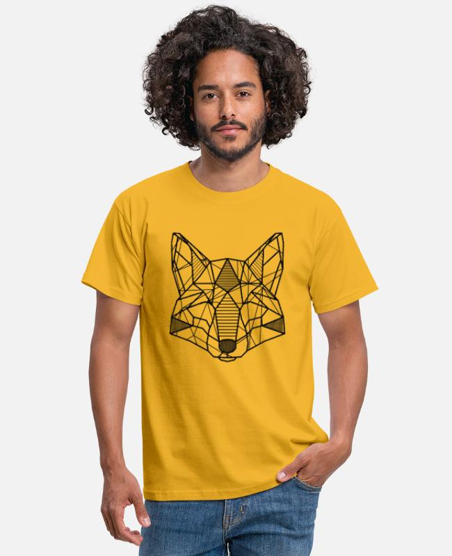 Origami T-shirts - Origami wolf - Mannen T-shirt geel