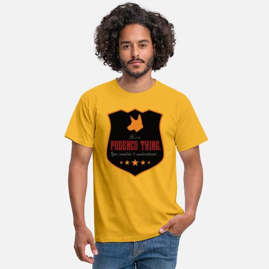 Dog Owner T-Shirts - PODENCO THING by the | site - Men's T-Shirt yellow