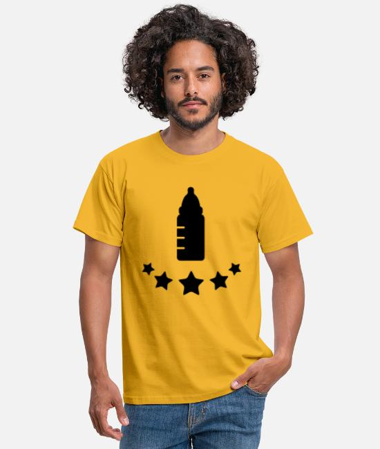 Thirst Quencher T-Shirts - baby__flasche_stars__f1 - Men's T-Shirt yellow