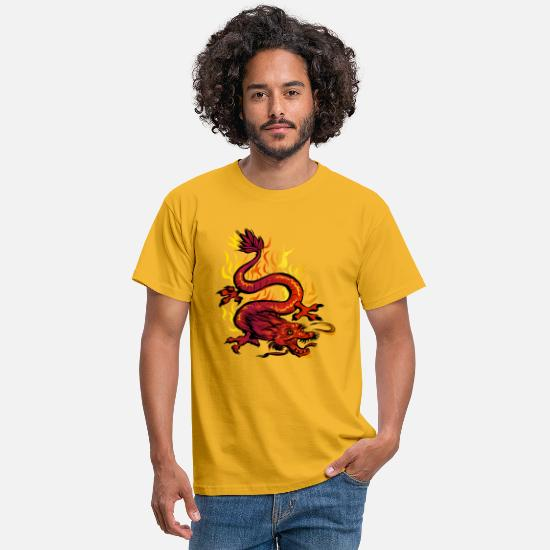 Tête De Dragon T-shirts - Lucky Dragon - T-shirt Homme jaune