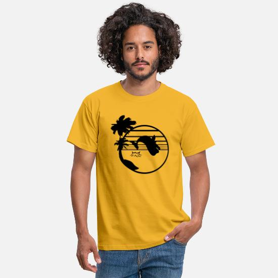 Jumping Spot T-Shirts - beach island palm tree jump gray whale blue whale sperm whale - Men's T-Shirt yellow