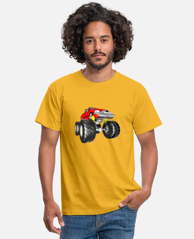 Gift T-shirts - Monstertruck, terreinwagen, pick-up, bestelwagen - Mannen T-shirt geel