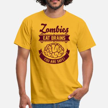 Geek Zombies eat Brains you are safe! - T-shirt Homme
