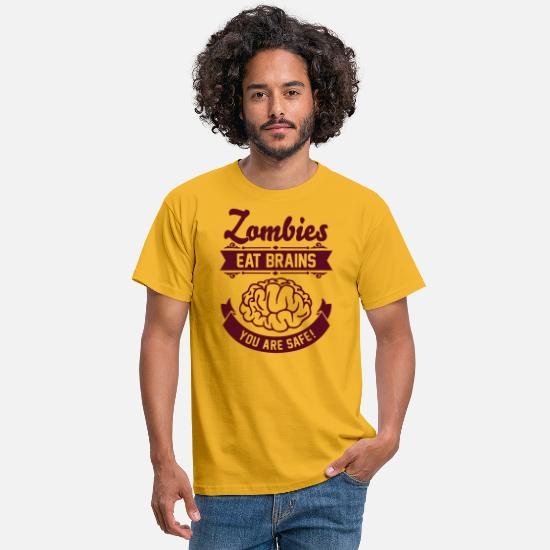 Geek T-shirts - Zombies eat Brains you are safe! - T-shirt Homme jaune