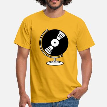 Weltkugel vinyl dj musik globus club party disko platte plan - Männer T-Shirt