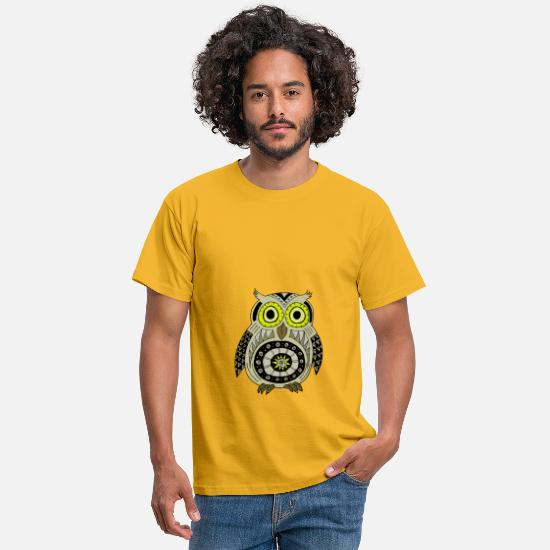 Night Owl T-Shirts - black Owly Ethnic - Men's T-Shirt yellow