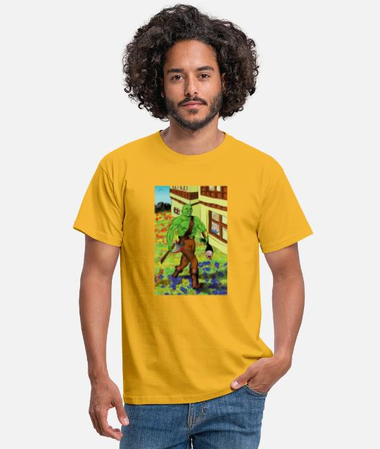 Orc T-Shirts - Brutal orc in a peaceful place - Men's T-Shirt yellow