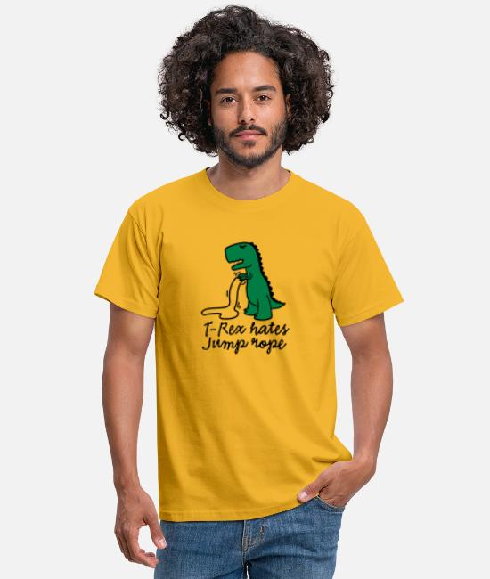 Push-ups T-Shirts - T-Rex hates jump rope - Men's T-Shirt yellow