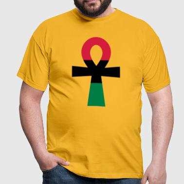 Red, Black & Green Ankh - Men's T-Shirt