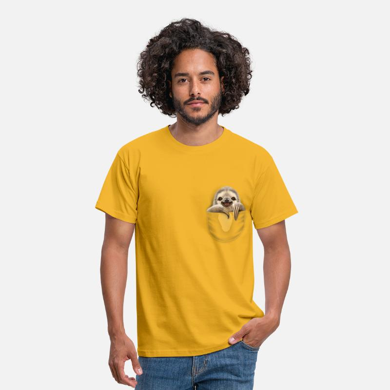 Yellow T-Shirts - POCKET SLOTH - Men's T-Shirt yellow