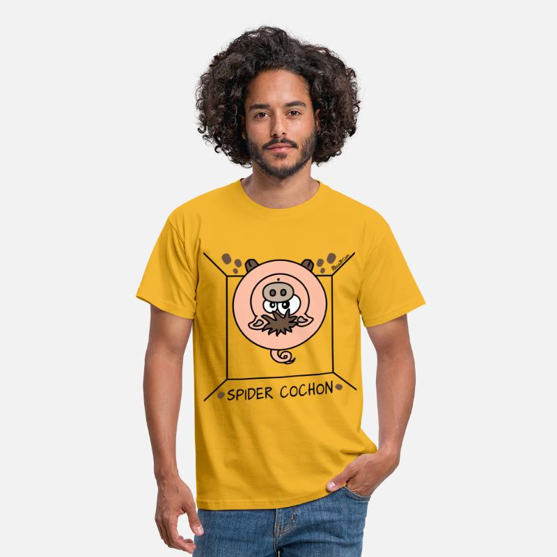 J'aime T-shirts - Spider Cochon, Homer - T-shirt Homme jaune