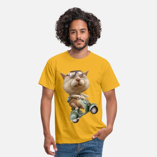 Motorcycle T-Shirts - RUNAWAY CAT - Men's T-Shirt yellow