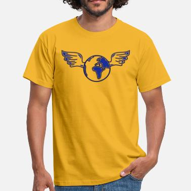 Drawing earth with wings - Men's T-Shirt