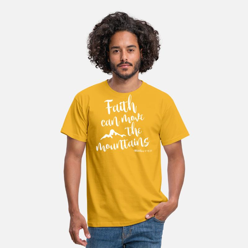 Bible T-Shirts - Faith can move the mountains - Men's T-Shirt yellow
