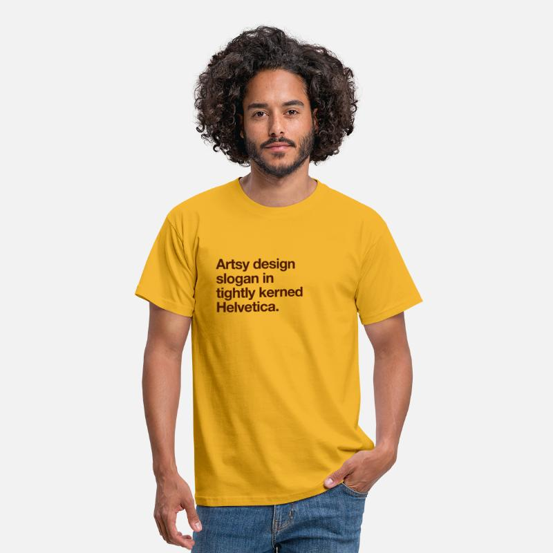 Artsy T-Shirts - Artsy Design Slogan in Tightly Kerned Helvetica - Men's T-Shirt yellow