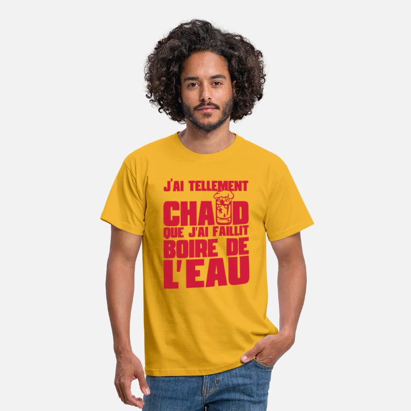 Citations T-shirts - citation alcool humour tellement chaud  - T-shirt Homme jaune